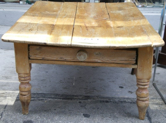 Large Antique Pine Coffee Table