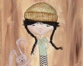 Original Painting - Rabbit and The Girl