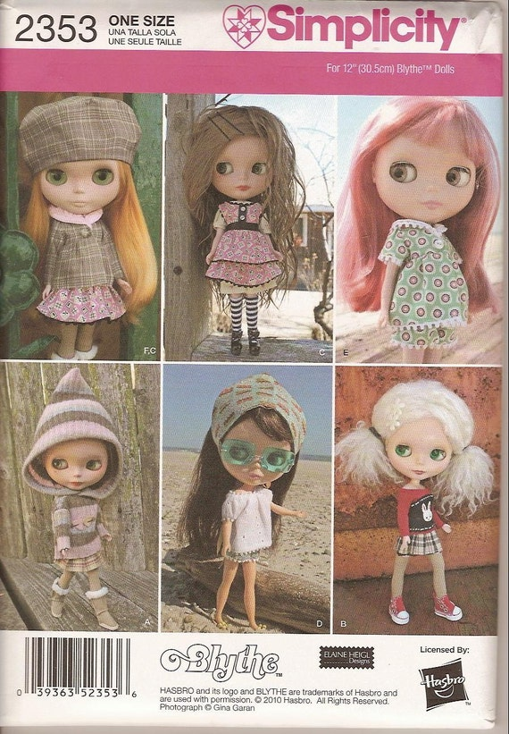 Blythe Doll Clothes Sewing Pattern Simplicity 2353 New