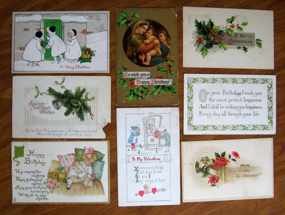 8 Antique Postcards Greeting Holiday Post Cards 1909 to 1915 Postally Used
