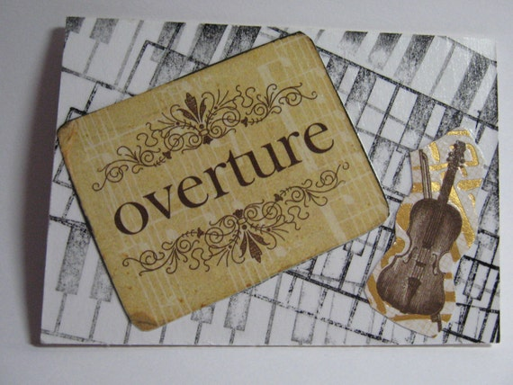 OVERTURE  Musical Original ACEO Mixed Media