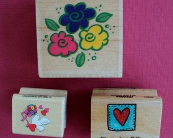 "Three Flowers, Wedding Dove, and ""Forever Friends"" Wood Mounted Rubber Stamps - Set of 3"