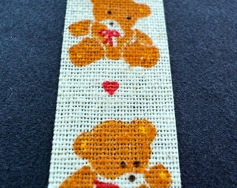 Vintage Fabric Trim, Sewing Trim, Burlap Trim, Decorative Trim, Doll Clothes Trim, Sewing Supplies - Cubby Bear with Hearts - 8-1/2 yards