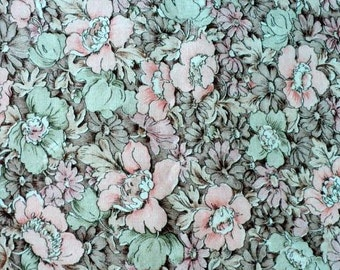 Pretty Pastel Pink and Green Floral Fabric with a Shaded Brown Floral Background - 1 yard 35 inches (almost 2 yards)
