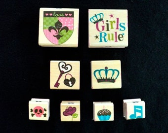 Destash Rubber Stamps, Wood Mounted Rubber Stamps, Decorative Stamps, Scrapbook Stamps - Girls Rule  - CAKE - Set of 8