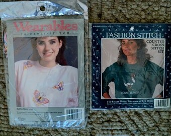 Born to Shop and Butterflies Waste Canvas Counted Cross Stitch Kits - 2 Kits