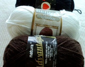 Assortment of Mahogany, Black and White Acrylic Yarn - 3 Skeins