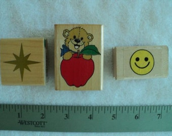 Suzy's Zoo Bear Apple, Smiley Face and 8 Point Star Wood Mounted Rubber Stamps - Set of 3