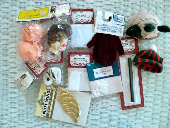 Assortment of Doll Body Parts and Accessories - Set of 13