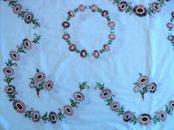 "Vintage - Unfinished Floral Hand Embroidered Linen - 34"" wide x 95"" long - Sale"
