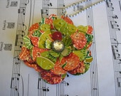 UNIQUE and Pretty.  Upcycled Statement Necklace.  Soda Can Art.  Strawberry Kiwi   --  New SIZE