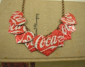 9 Heart Necklace. Recycled Soda Can Art.  DOUBLE-sided and Embossed.  Coca Cola