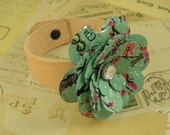 Tea Rose and Leather Bracelet. Recycled Soda Can Art.  AZ Tea Mint Teal