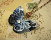 3D Butterfly Necklace with Copper Bead.  DOUBLE-sided.  Recycled Soda Can Art. Monster Blue