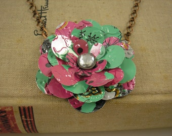 Tea Rose Necklace.  Recycled Sod Can Art.  AZ Tea