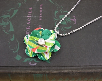 Sweet and Small Rose Necklace. Recycled Soda Can Art. Mountain Dew