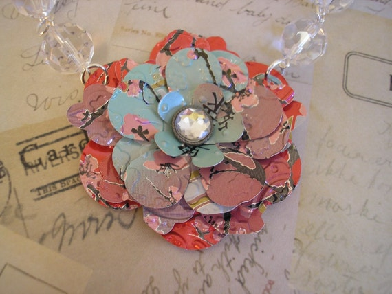 Upcycled Statement Necklace. Soda Can Art. Red Apple Tea