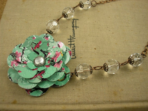 AZ Tea Rose and Crystal Bead Necklace. Recycled Soda Can Flower Art.