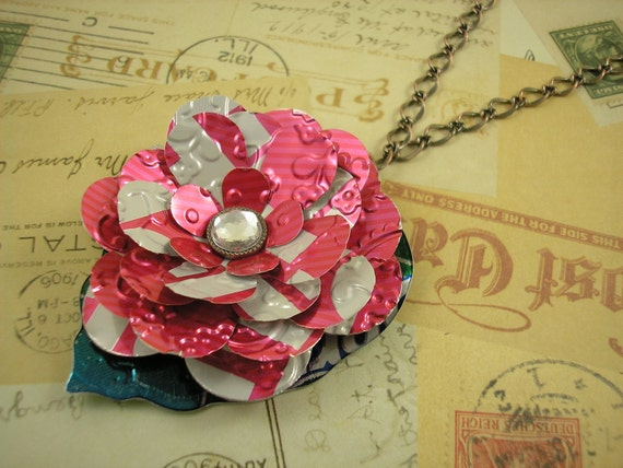Fushia Pink Rose and Leaf Pendant Necklace.  Recycled Soda Can Art. Trendy 30 inch Length. TaB