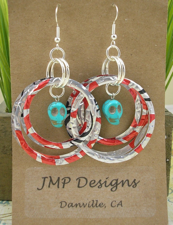 Stacked Hoop Circle with Skull Earrings   DOUBLE-sided.  Diet Coke