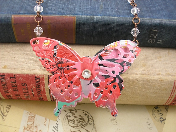 3D Beautiful Butterfly Statement Necklace ( LARGE)  DOUBLE-sided. Recycled Soda Can Art