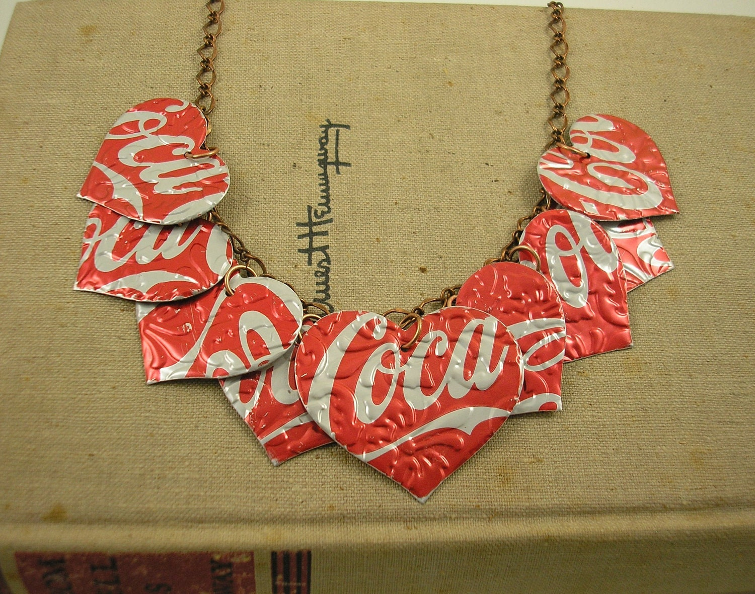 9 heart necklace recycled soda can art double sided and - Manualidades faciles reciclaje ...