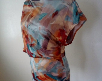 Multi-colored One Sided Batwing Top