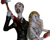 Zombie Battling Cake Topper, Made to order, Custom to look like you and fiance