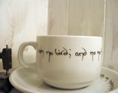 Charlotte Bronte Jane Eyre Hand Inked Birds Teacup and Saucer