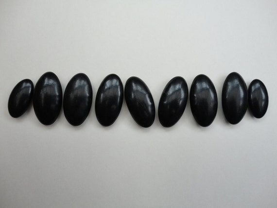 Vintage Set of 9 Black Oval Buttons