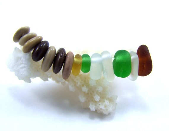Mix of Original Tumbled Sea Glass-7 and Tiny stones -7- Top drilled