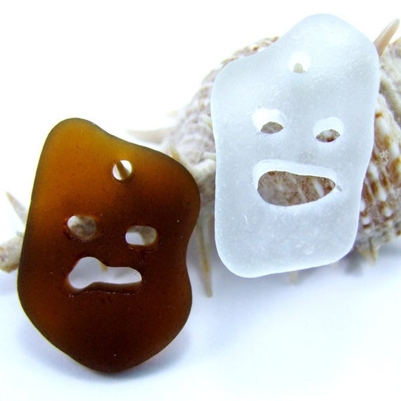 Drilled Beach Sea Glass Carved Face Halloween pendant