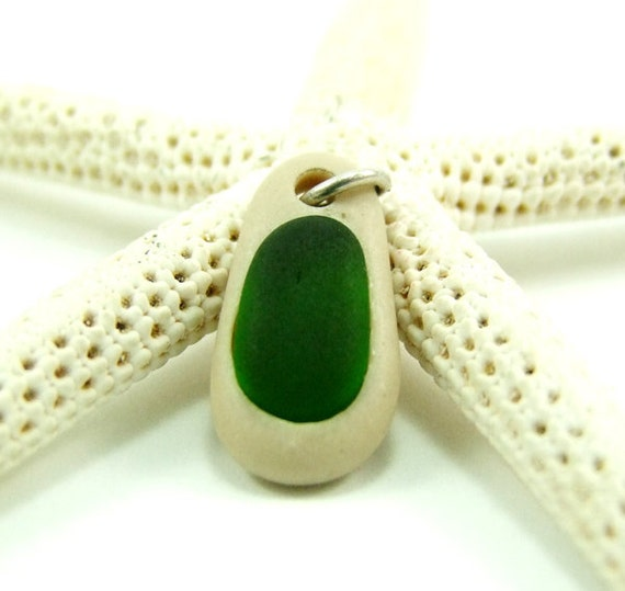 Drilled Beach Stone White Pendant with Sea Glass Inside Design Sale