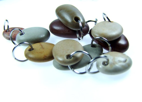 Drilled Beach Stones 10 pcs // ORGANIC BEADS // Unique Pendants with Jump rings :)