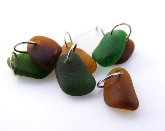 Sea Glass  - Drilled for Jewelry Charms with jump rings Beach Glass