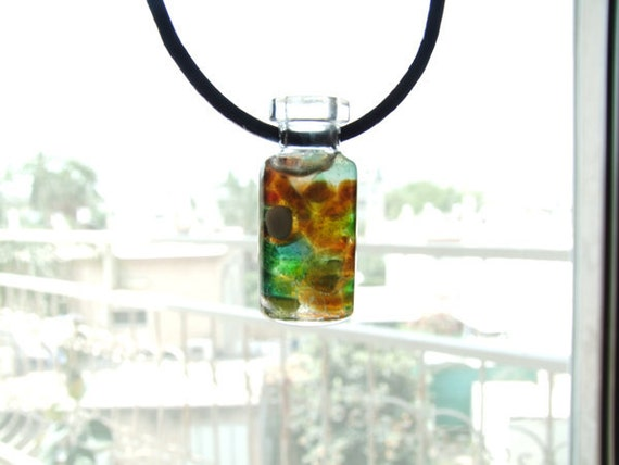 Tiny Bottle Necklace with Tiny Sea Glass Mix and Resin inside
