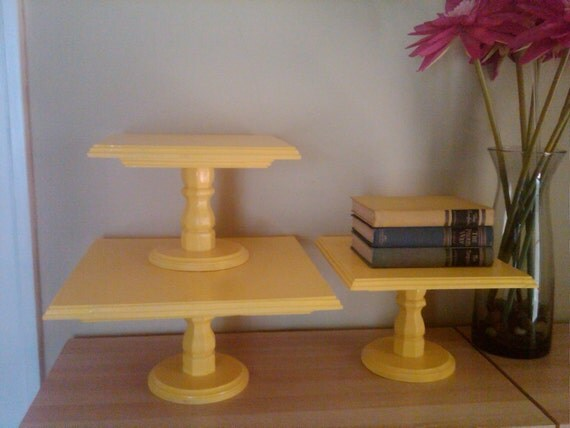 16 Inch Square Yellow Pedestal Cake Stand by NeapolitanPicnic