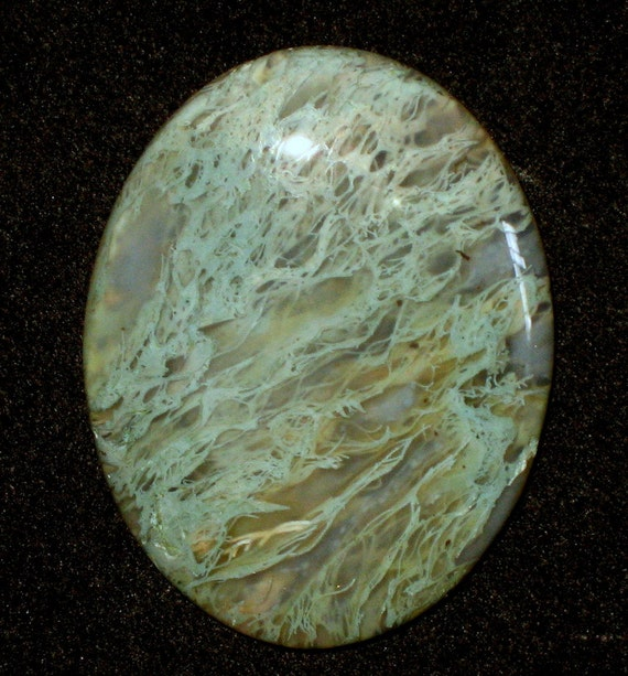 Green Moss Agate Hand Cut Cabochon