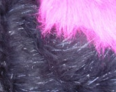Black with Glitter Strips Faux Fur Craft Size