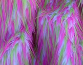 New Color Multi Color Hot Pink Lime and White Faux Fur
