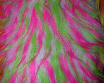 Multi Color Hot Pink Lime and White Faux Fur Craft Size