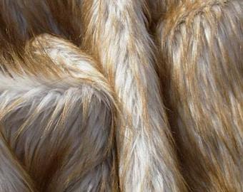 Brownish Orange White and Beige Faux Fur Craft Size