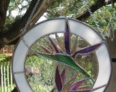 Bird of Paradise Stained Glass Suncatcher FREE SHIPPING