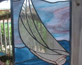 """Stained Glass Window Panel/Suncatcher  """"Heading to Shore"""" FREE SHIPPING"""
