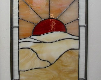 Desert Sunset Stained Glass  Panel  Red Orange Tan FREE SHIPPING