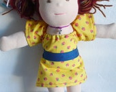 Strawberry Peasant Dress and Sash for Smaller Dolls
