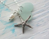 SUMMER DREAM ........Scottish Sea Glass and Sterling Silver Starfish Necklace (1137)
