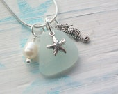DAY at the BEACH  .........Scottish Sea Glass and Sterling Silver Seahorse and Starfish Necklace (1271)