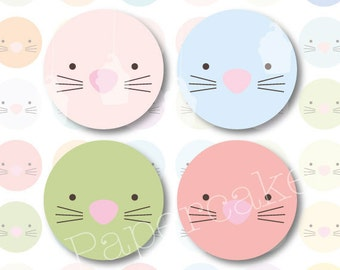 One Inch Circles Pastel Easter Bunnies for Scrapbooking, Collage, Bottlecaps, Jewellery Making (523)