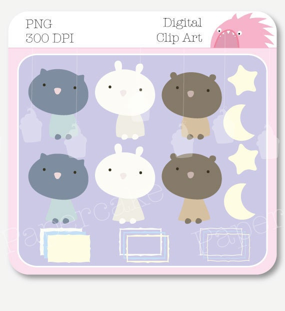 Digital Collage Clip Art Elements Cute Baby Animals for Scrapbooking, Card Making, Stickers (2005)